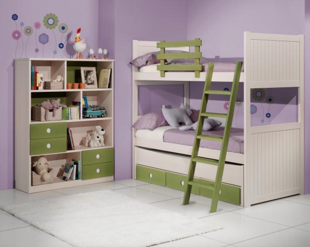 Litera 3 camas+bloque 3 cajones fijos altos colchón 90 x 190