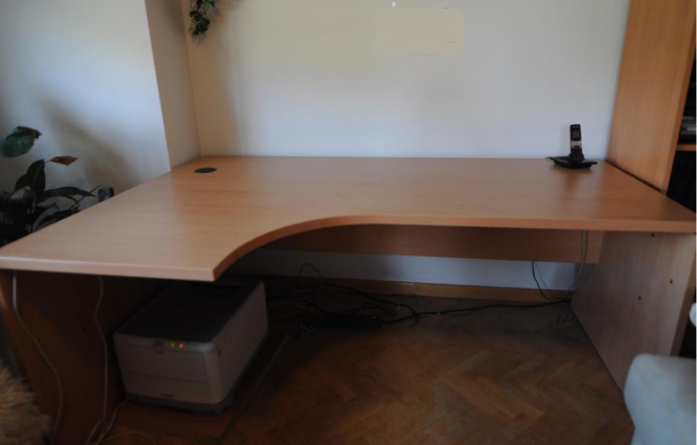 MESA despacho color haya - con curva (ala)
