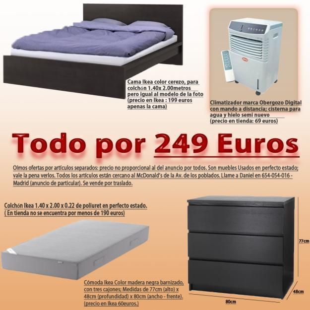 Se vende Cama Doble + Colchón doble + Cómoda + Climatizador = 249euros