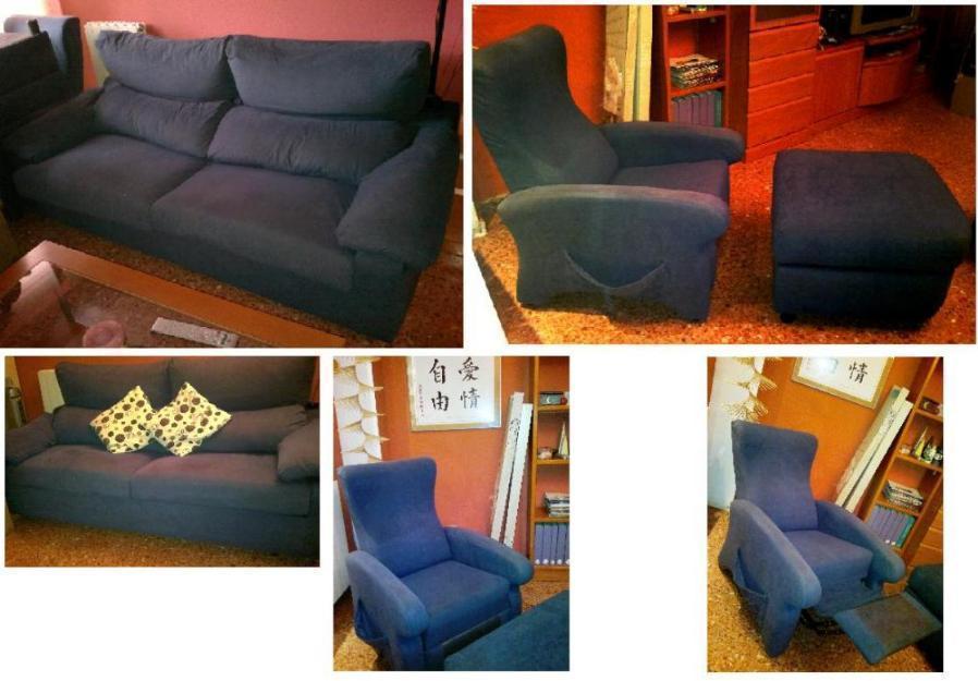 OFERTA Conjunto de sofás sofas de alta gama en microfibra azul 400 €! sofa cama (Zaragoza)
