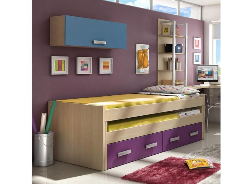 Habitacion juvenil, cama nido y mesa escritorio