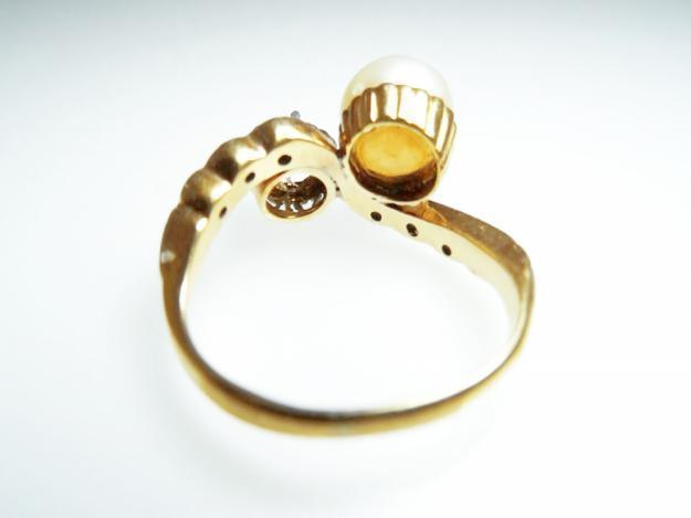 Anillo Antiguo ORO 18k con Diamantes y Perla Natural Sortija